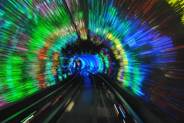 Lightshow through Huan Pu Pedestrian Tunnel